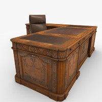 carved wood antique office desk 3d model