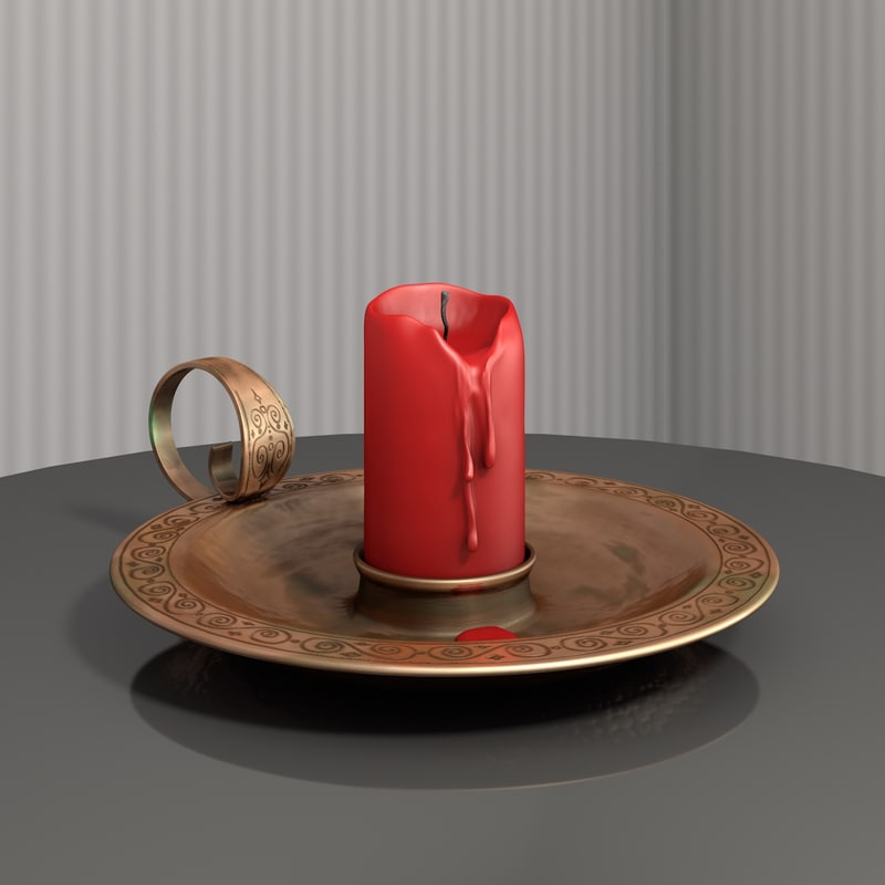 old candle flame candleholder 3d c4d