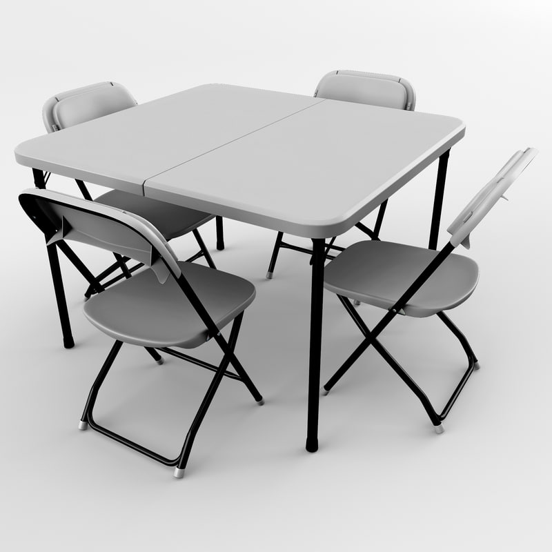 card table chairs 3d obj