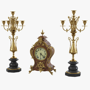 3d model of fireplace clock classic candelabra