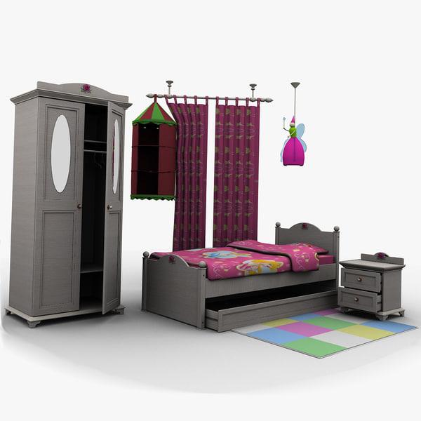 girl bedroom bed room 3d model