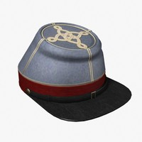3d model confederate officer kepi