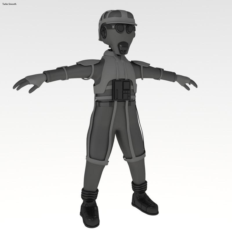 sci-fi pilot 3d max