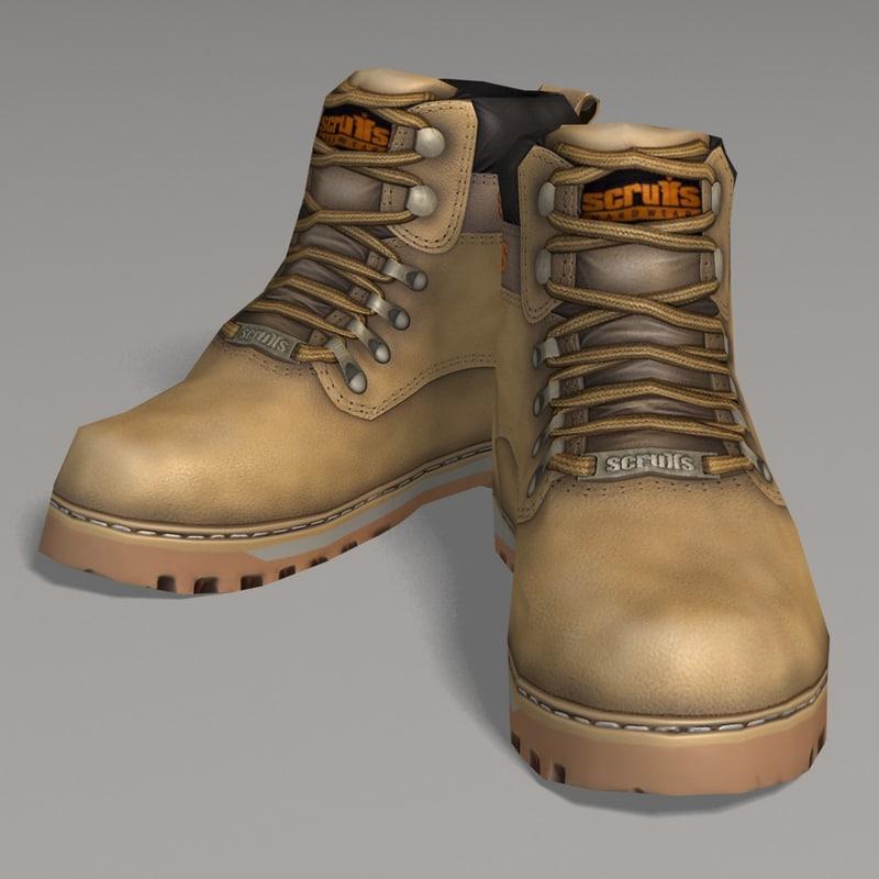 3d working boots scruffs model