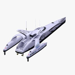 earthrace powerboat futuristic 3d max