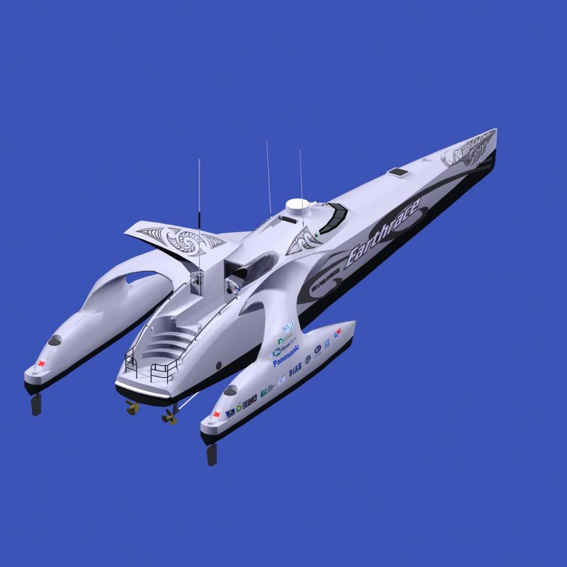 earthrace powerboat futuristic 3d max