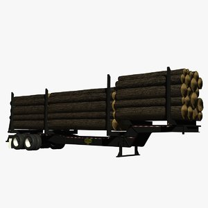 3d model of logger trailer logging