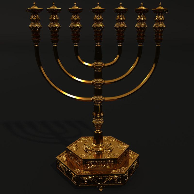 3d golden menorah temple