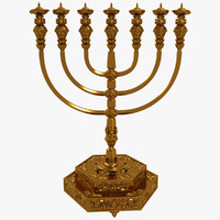 3d golden menorah temple