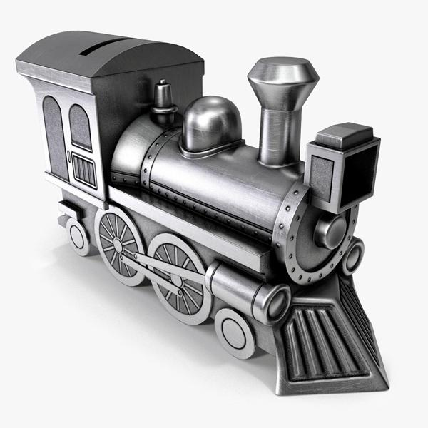 3ds max money-box steam locomotive