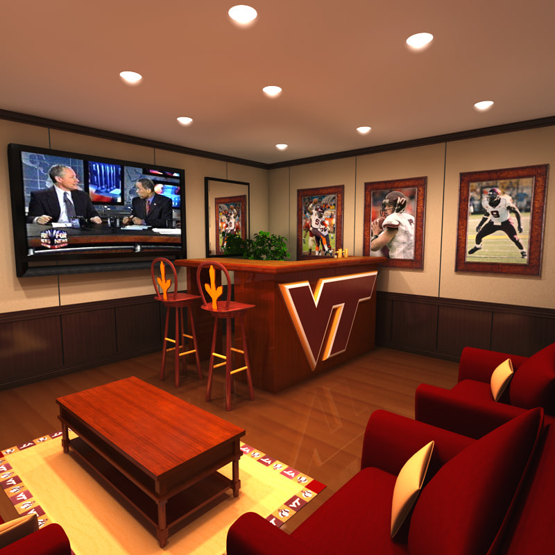 Home Theater Design And Ideas: 3ds Max Virginia Hokie Man Cave