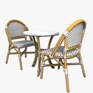 wicker cafe table chairs 3d model