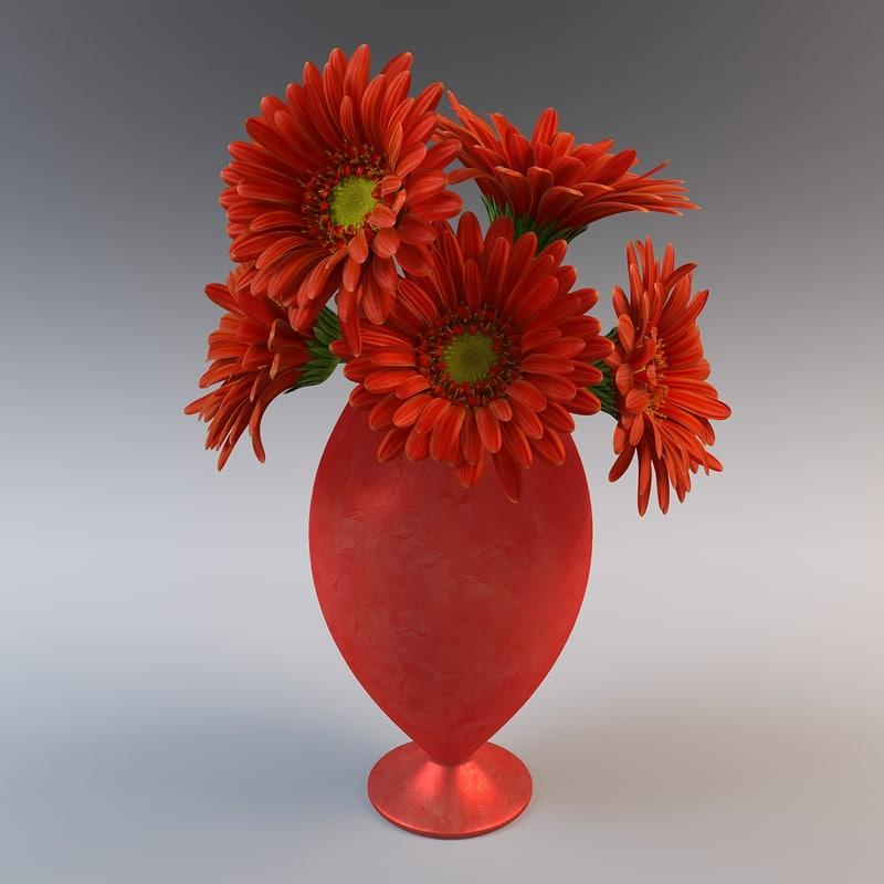flower gerbera vase 3d model
