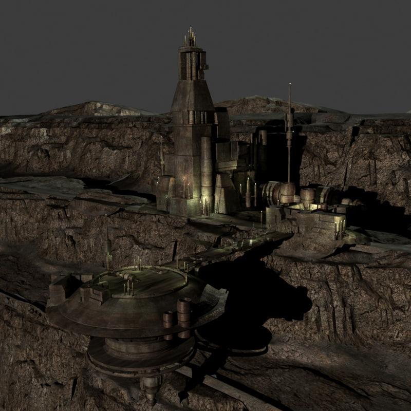 3d model sci fi prison facility