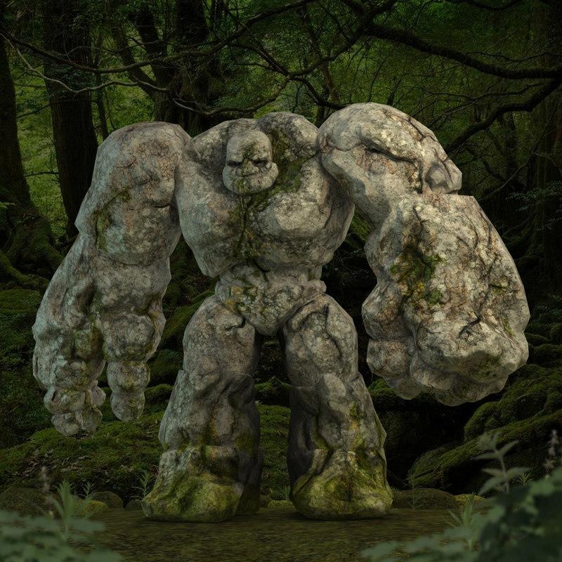 3d golem character rocks model