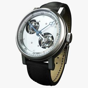 breguet silver watch 3d model