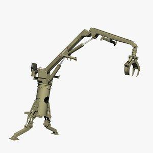 truck log loader crane 3d model