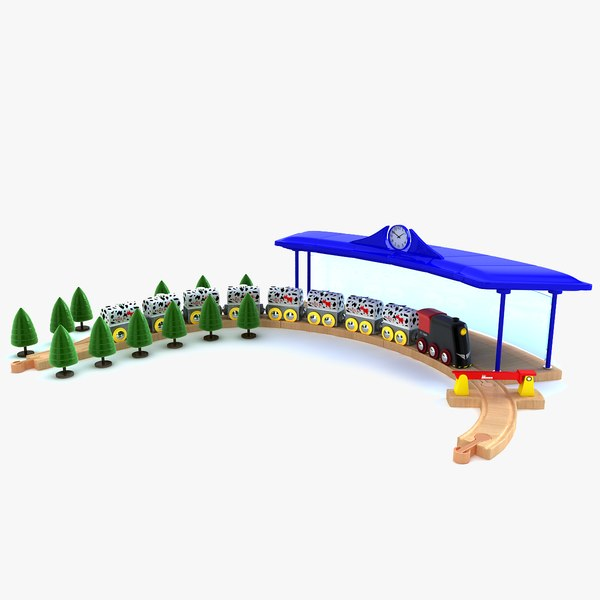 3d model kids train set locomotive