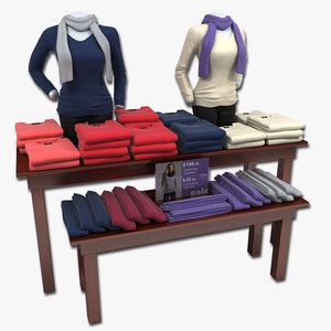 3d womens sweater table