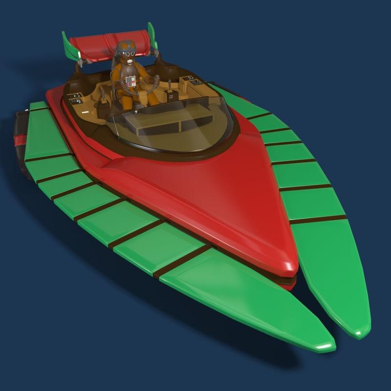 3d sci-fi glider b