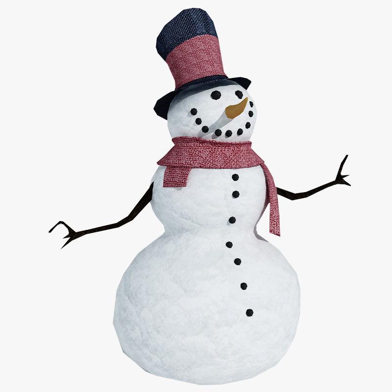realistic snowman 3d model