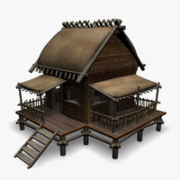 beach cottage 3d model