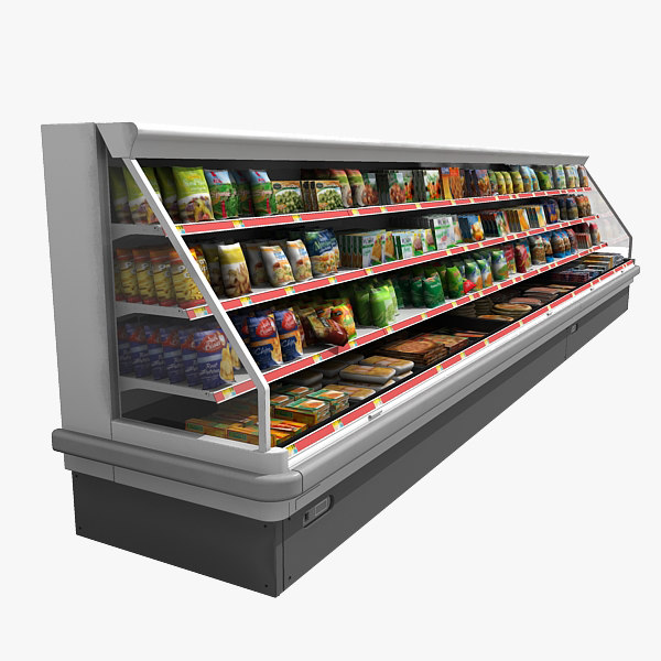 supermarket filled refrigerator 3d model