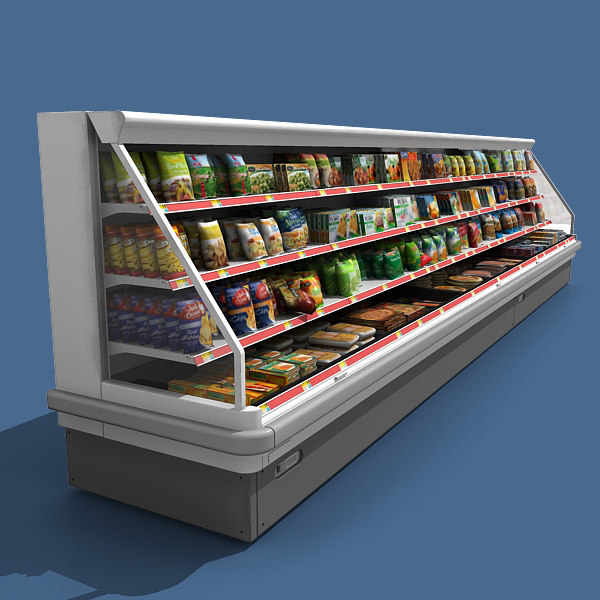 supermarket filled refrigerator 3d model