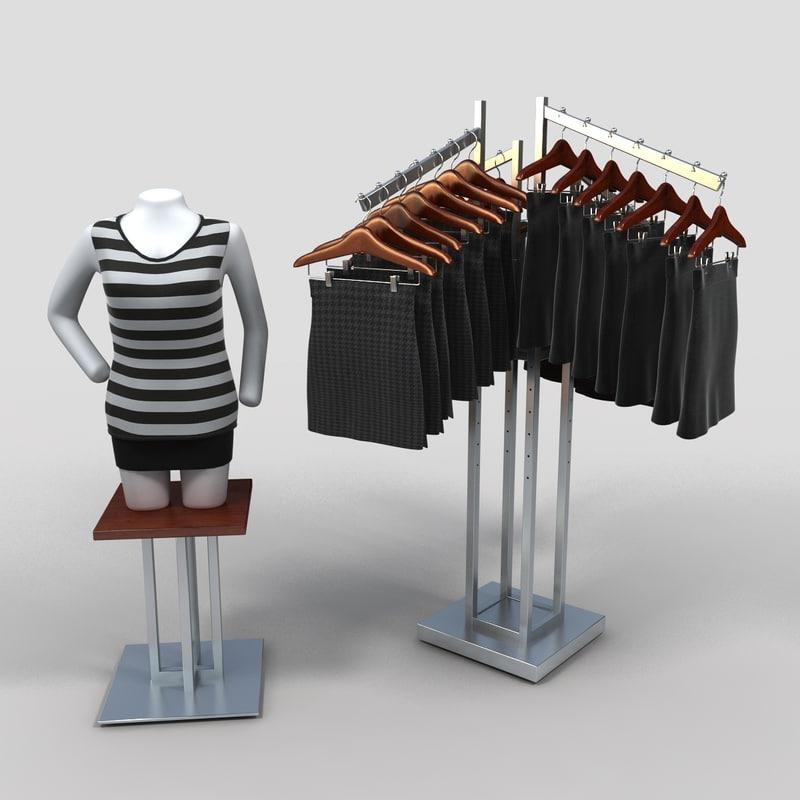 3d women s skirt rack model