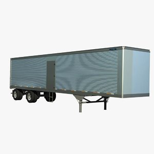 48ft van trailer truck 3d model