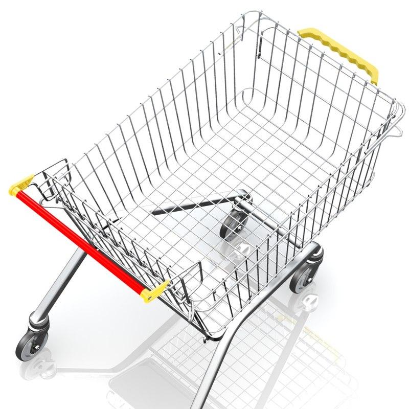 shopping trolley cart 3d model