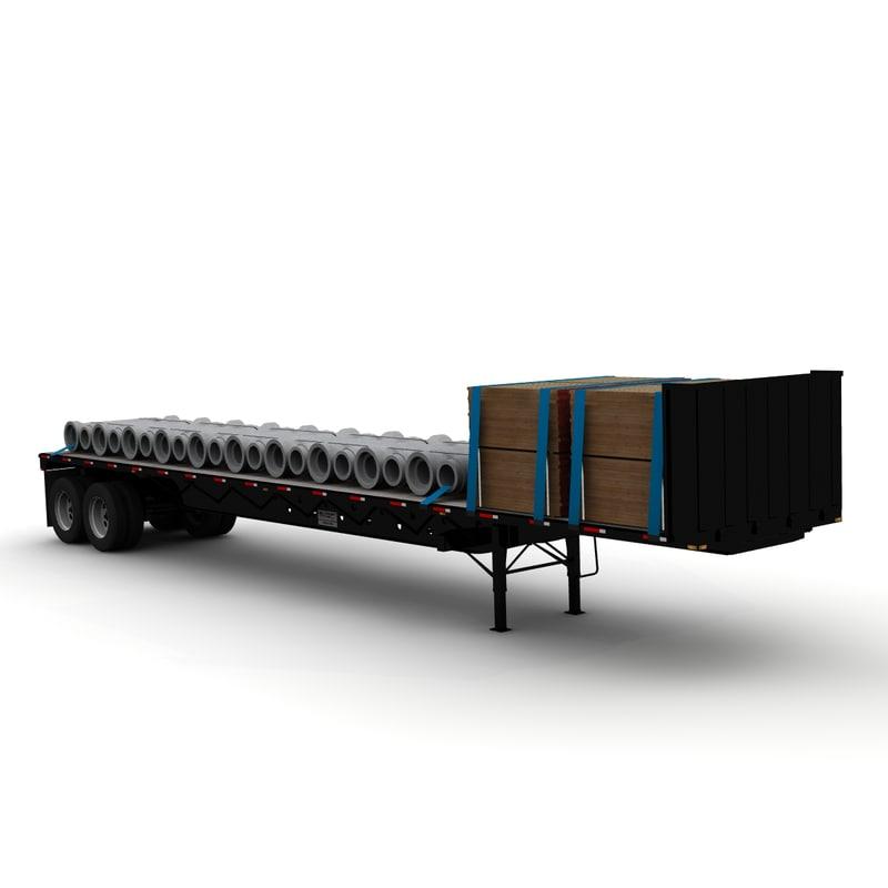 transcraft tandem trailer 3d model
