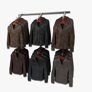 3d model women leather jackets wall