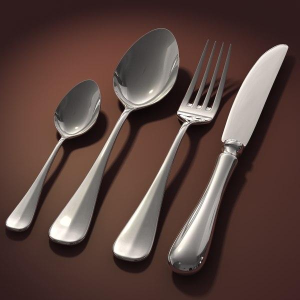 knife tablespoon teaspoon 3d model