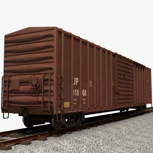 3d freight train boxcar
