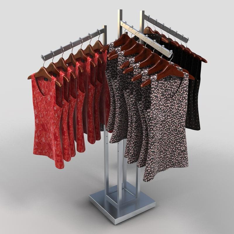 3d model women blouses rack