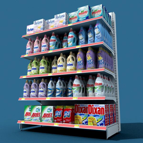 3d model detergents shelf