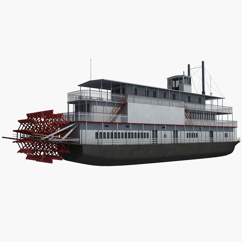 historic steam boat 3d model