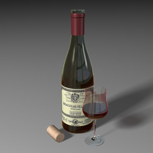 3d wine beaujolais bottle