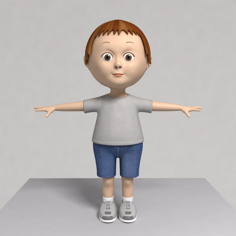 Cartoon Characters 3d Model : D model cartoon character little boy
