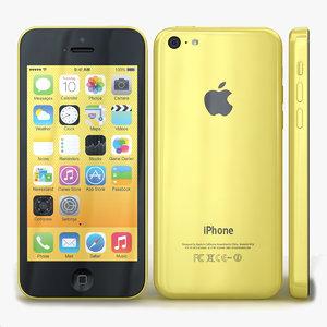 3d apple iphone 5c yellow