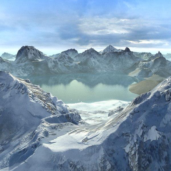 3d mountains landscape terrain model