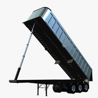 3d trailer 3 axle trail model