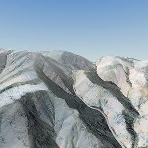 3d afghan valley terrain landscape model
