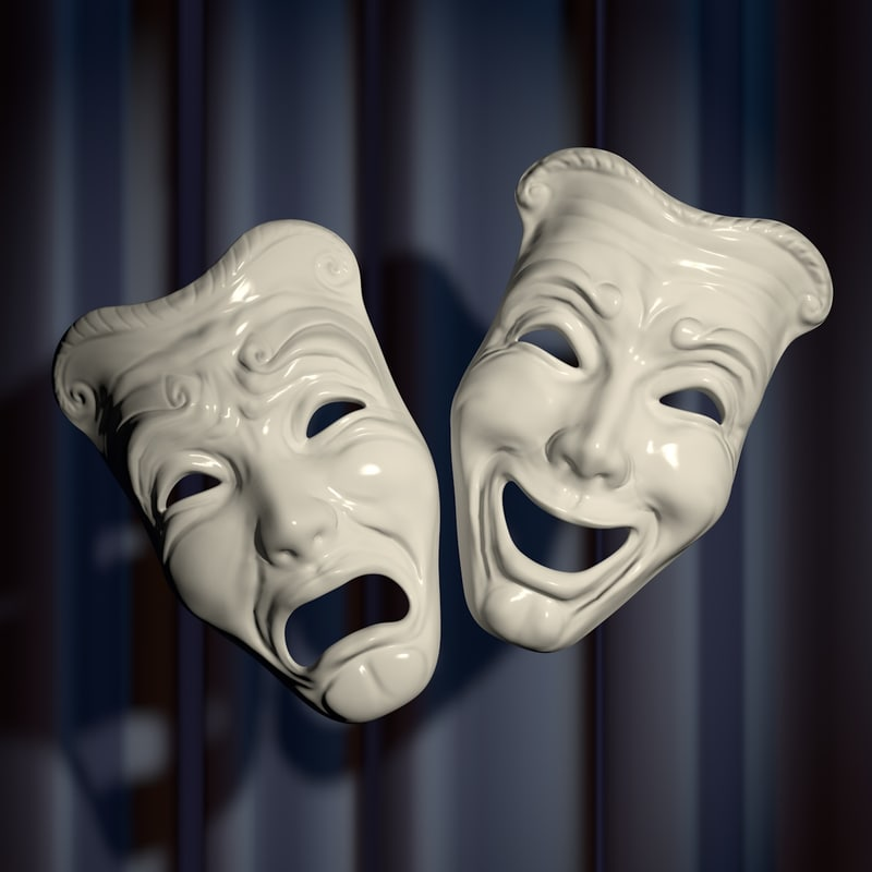 3d masks tragedy comedy model