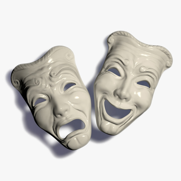 3d masks tragedy comedy model