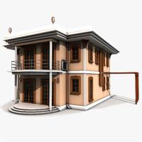 villa style building 3d c4d