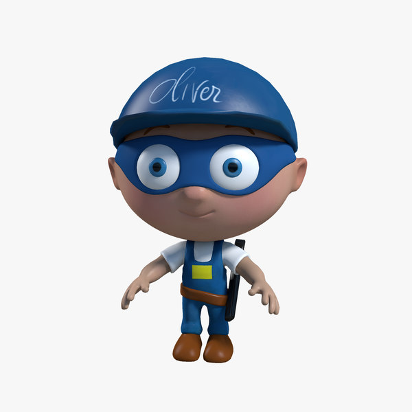 3ds max plumber cartoon rigged character