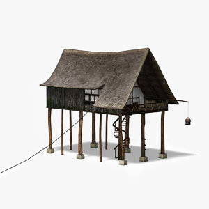 3ds wooden house