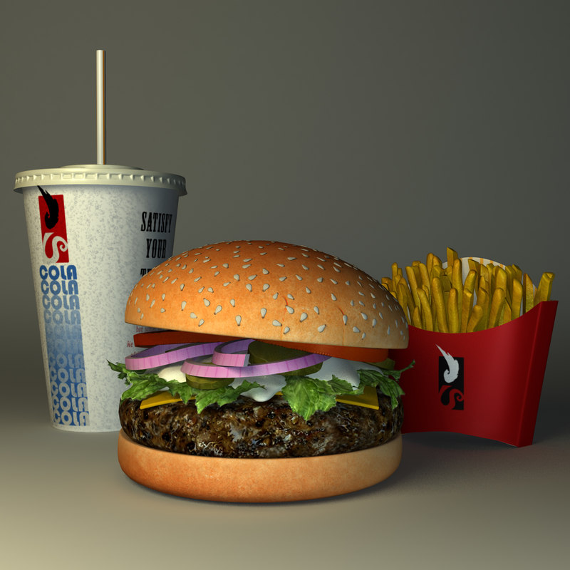 3d model hamburger combo